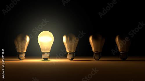 Stampa su Tela  Light Bulbs idea ,leadership, success concept,different thinking