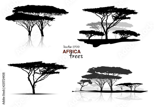 Silhouette of africa trees black on white background, vector illustration Wallpaper Mural