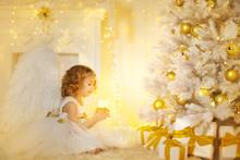 Angel Child And Christmas Tree...