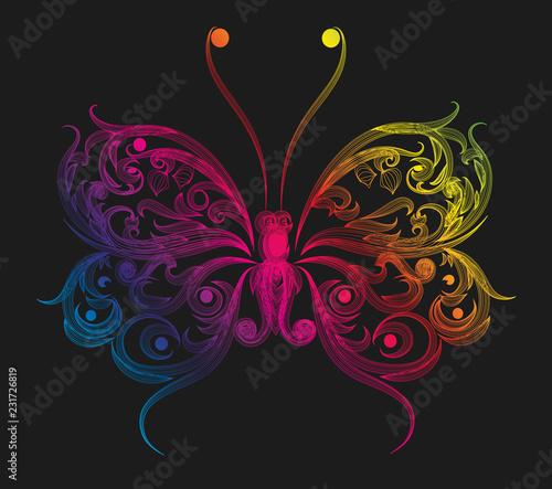 Poster Vlinders in Grunge Colorful butterfly
