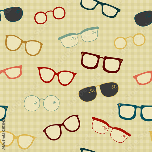 Fotografía  Seamless Vector Pattern of Hand Drawn Eye Glasses