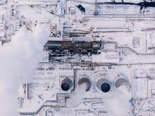 Aerial Top View Clouds Of Smoke And Steam Cooling Tower Industrial Heat Electro Central Coal.