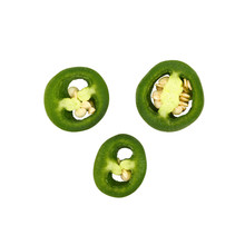 Close Up Three Cut Green Jalapeno Peppers Isolated