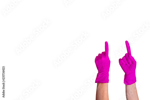 Photo Hand pink medical glove isolated white background sign gesture symbol show index