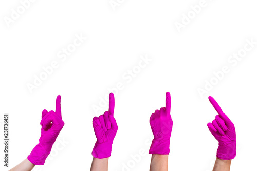 Hand pink medical glove isolated white background sign gesture symbol show index Wallpaper Mural