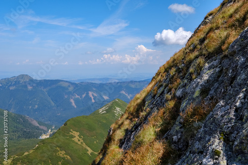 Spoed Foto op Canvas Grijze traf. rocky mountain tops with hiking trails in autumn in Slovakian Tatra western Carpathian