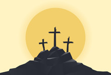 Mountain With Three Crosses At Sunset