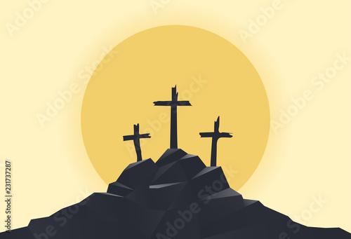 Fototapeta mountain with three crosses at sunset