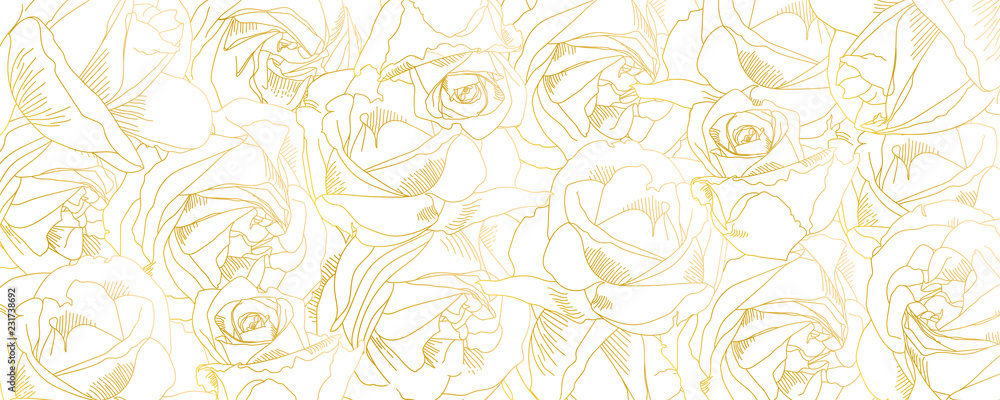 Fototapety, obrazy: Roses bud outlines. Vector pattern with contours of flowers in golden colors. Abstract art, hand-drawn romantic background. Vector illustration, eps10. Template for poster, banner, cover, leaflets.