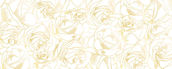 Roses bud outlines. Vector pattern with contours of flowers in golden colors....