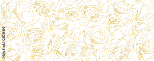 Roses bud outlines. Vector pattern with contours of flowers in golden colors. Abstract art, hand-drawn romantic background. Vector illustration, eps10. Template for poster, banner, cover, leaflets. - 231738692