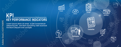 Fotografija KPI - Key Performance Indicators Web Header Banner and Icon set