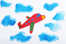Colorful Children Painting Of Red Airplane On White Background