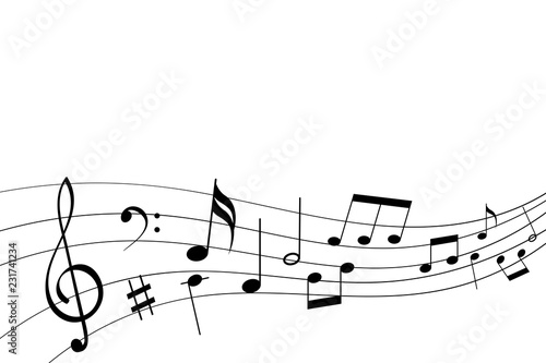 Abstract musical symbols on note staff © savanno
