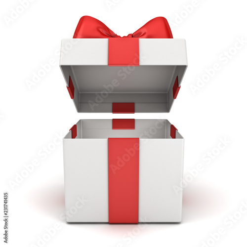 Fotografia, Obraz  Open gift box or blank present box with red ribbon bow isolated on white backgro