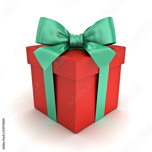 Red gift box or Christmas present box with green ribbon and bow isolated on white background 3D rendering © masterzphotofo