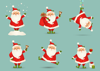 Collection of Cute Christmas Santa Claus isolated. Christmas Set of Cheerful, funny Santa clause for winter holidays. Happy Santa Claus cartoon character ready new year. vector.