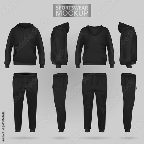 Fototapeta Mockup of the Black sportswear hoodie and trousers in four dimensions: front, side and back view, realistic gradient mesh vector
