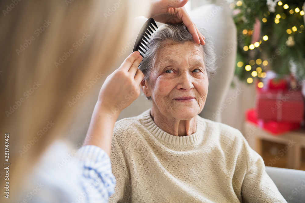 Fototapeta A health visitor combing hair of senior woman at home at Christmas time.