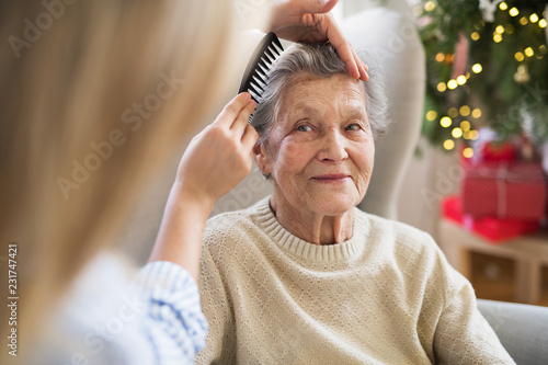 Fototapeta A health visitor combing hair of senior woman at home at Christmas time. obraz