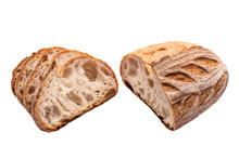 Slices Of Sourdough Freshly Baked Bread On White Background.