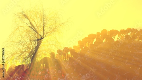 In de dag Zwavel geel Mountain, fog, mist abstract meadow field full of strange vegetation in form of wine glasses and lit by bright sun god rays with lonely tree without leaves. Unusual 3d illustration. Travel and camping