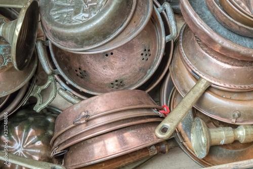 old copper pot at garage sale