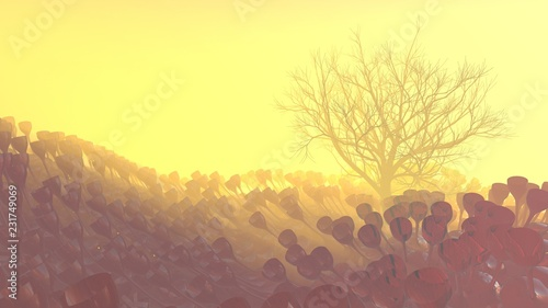 Fotobehang Zwavel geel Mountain, fog, mist abstract meadow field full of strange vegetation in form of wine glasses and lit by bright sun god rays with lonely tree without leaves. Unusual 3d illustration. Travel and camping