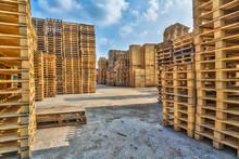 Piles Of Euro Type Cargo Pallets