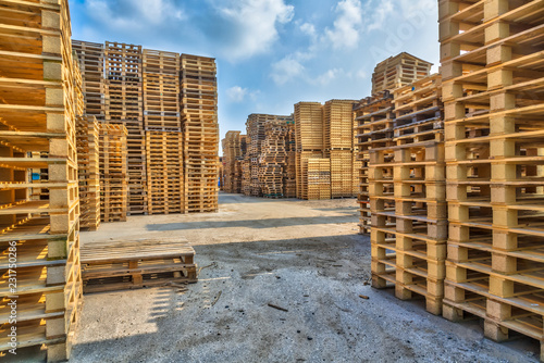Piles of euro type cargo pallets
