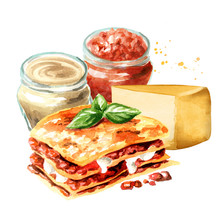 Lasagne Ingredients. Watercolor Hand Drawn Illustration Isolated On White Background