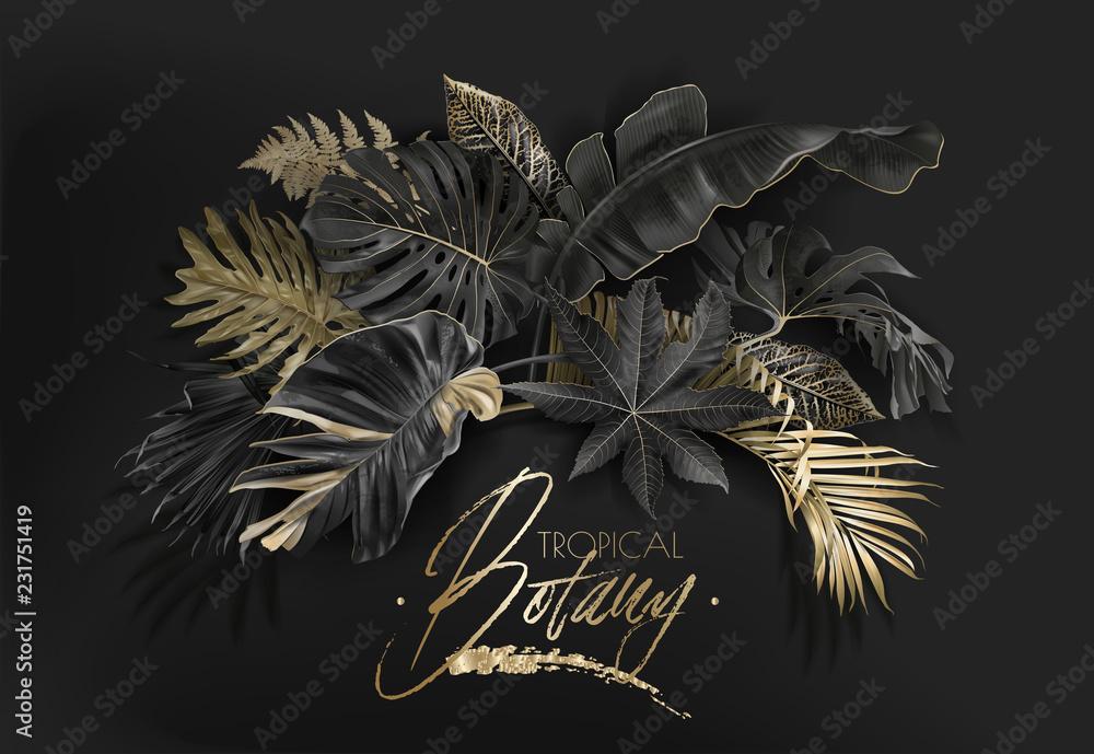 Fototapeta Tropical leaves black and gold botany banner