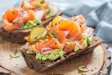 Danish Open Sandwich Smorrebrod With Salmon On Rye Bread