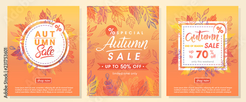 Staande foto Retro sign Autumn special offer banners with autumn leaves and floral elements in fall colors.Sale season card perfect for prints, flyers,banners, promotion,special offer and more. Vector autumn promotion..