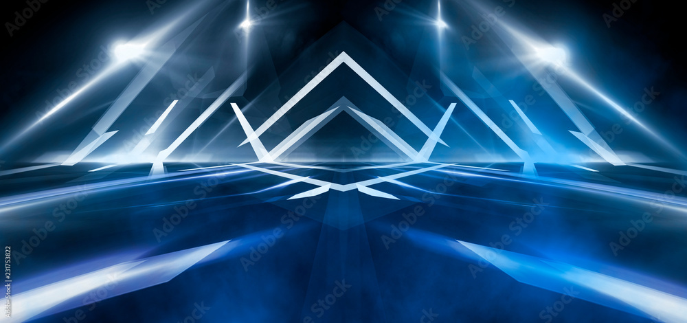 Fototapety, obrazy: Abstract dark tunnel with neon lights illumination and smoke
