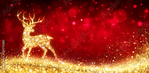 Christmas Card - Magic Golden Deer In Shiny Red Background