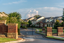 Typical Fresh New Gated Community Entrance In United States Southern States