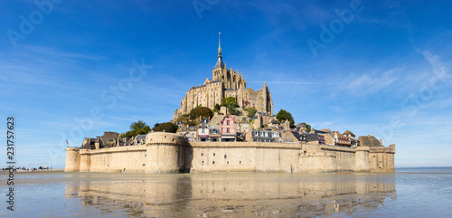 Fotografie, Obraz  panorama of Mont Saint-Michele castle in France from sea side in low tide time