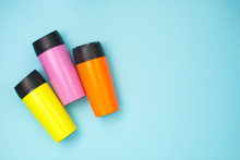 Multicolored Thermo Mugs On Th...