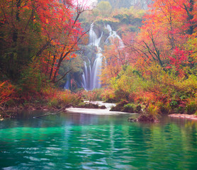 Panel Szklany Wodospad Plitvice waterfalls in the fall