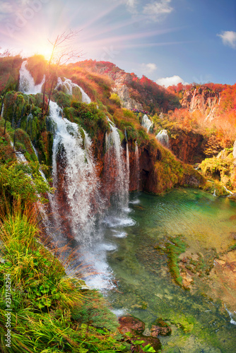 fototapeta na lodówkę Plitvice waterfalls in the fall