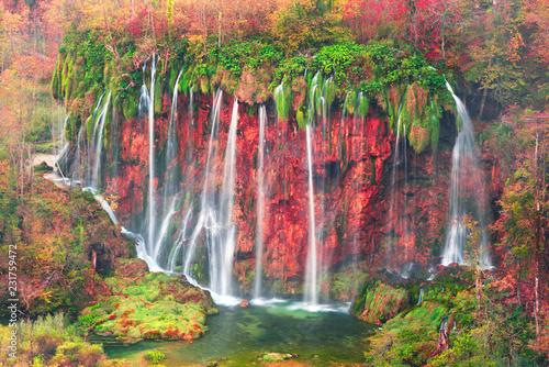 Wall Murals Waterfalls Plitvice waterfalls in the fall