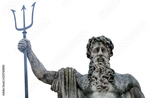 Close up of the mighty god of the sea and oceans Neptune (Poseidon) The ancient statue Wallpaper Mural
