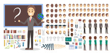 Teacher Character In Uniform Set For Animation.