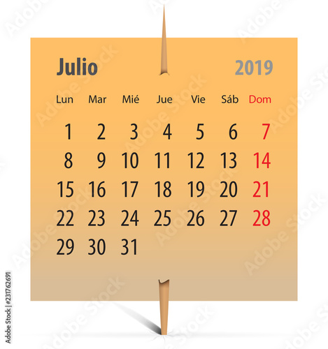 Calendario Julio 2019 Vector.Calendar 2019 For July Buy This Stock Vector And Explore
