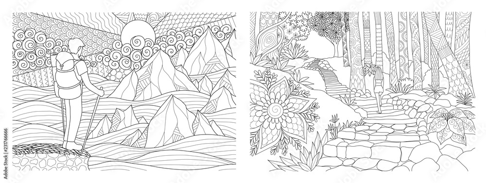 Fototapeta Travelling in nature adult coloring pages collection. Vector illustration
