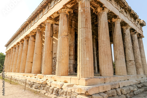 Photo  Facade of ancient temple of Hephaestus, Hephaestion, Theseion (415 BC), Ancient