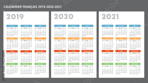 Fényképezés  French calendar 2019-2020-2021 vector template