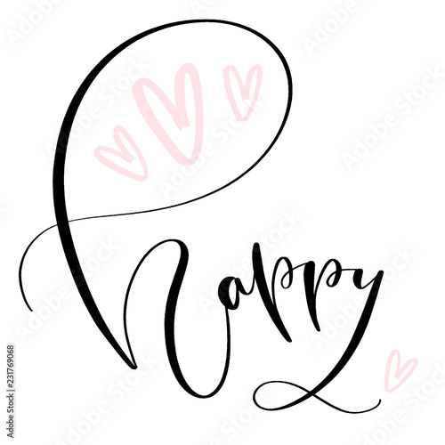 Happy Modern Calligraphy Vector Birthday Card Acheter Ce Vecteur