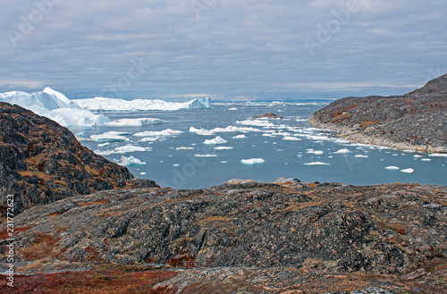 Photo sur Aluminium Arctique Looking out to the Ocean at the Icefjord